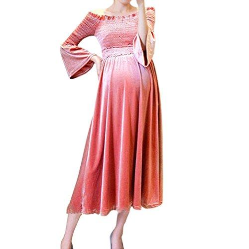 Longra Damen Kleid Langarm Samt Velvet Kleid Schwangerschafts Baby für Mutterschafts Schulter Kleid Krankenpflege Vintage Elegant Langes Maxikleid...