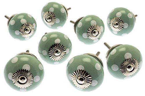 Juego de pomos de cerámica para armario, color verde con lunares blancos, paquete de 8 (MG-819) – 'Mango Tree' TM producto registrado
