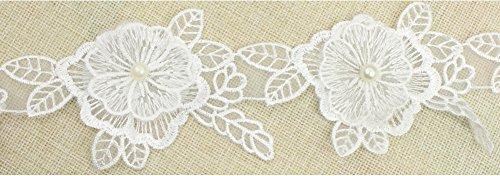 fundiy Perle Spitze Rand Trim Blumen Netz Blütenblatt Blätter Aufnäher Bridal Kleid Band Nähen Craft (Kostüm Daisy Diy)