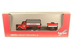 Herpa 307956 Ford V3000 P - Juego de Camiones de Bomberos con Remolque de Tanque Feuerwehr
