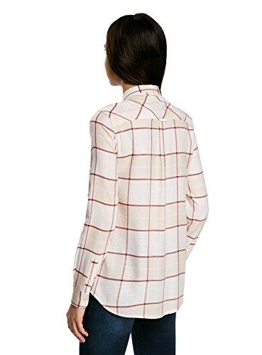 oodji Collection Damen Lässige Bluse mit Brusttasche Beige (3349C)