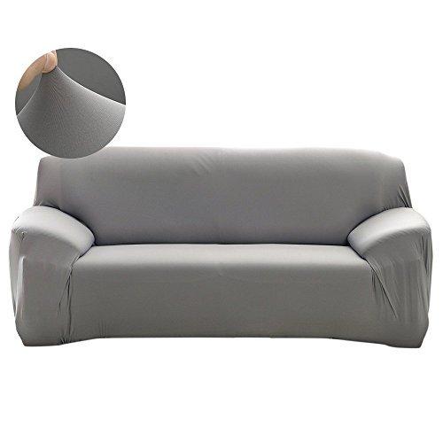 Watta - Elastischer Stretch-Sofaschonbezug für 1-,2-,3-,4-Sitzer-Sofa, Couch, Polyester-Spandex-Schonbezug 2 Seater/(145-185cm) grau