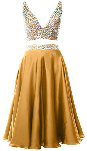 MACloth Women 2 Piece Short Prom Dress 2017 Straps V Neck Cocktail Formal Gown Gold