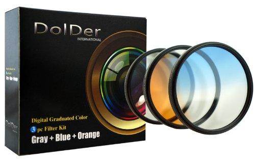 DolDer 3er Verlaufsfilter - Set (Blau, Grau, Orange) für Digitalkameras - Filterdurchmesser 72mm - mit Filtertasche