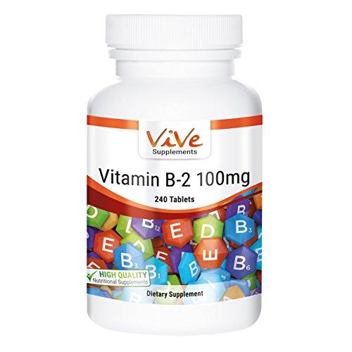 ViVe Supplements Vitamin B2 100mg - 240 Tabletten, Riboflavin, vegetarisch und vegan, Großpackung für 8 Monate