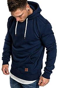 ZIOOER Herren Basic Kapuzenpullover Sweatjacke Pullover Hoodie Sweatshirt Navy Blau XL