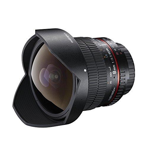 Walimex Pro 8mm 1:3,5 DSLR Fish-Eye II Objektiv für Canon EF-S Objektivbajonett schwarz (manueller Fokus, für APS-C Sensor gerechnet, IF, mit abnehmbarer Gegenlichtblende und Objektivbeutel)