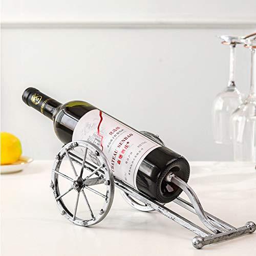 WOFEI Weinregal mit Einer Flasche, Weinregal mit Zwei Rädern aus Schmiedeeisen, Schmiedeeisen für Heim- und Küchendekoration