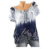 ❤️Femmes manches courtes en dentelle à col en V Imprimé Dentelle Tops Loose T-Shirt Blouse Tefamore (FR-48/CN-XXXXXL, Bleu clair)