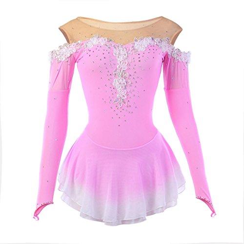 Heart&M Handarbeit Eiskunstlauf Kleid für Mädchen Rollschuhkleid Wettbewerb Kostüm Applikationen Langärmliges Elastisches Eislauf Kleider Rosa, 14