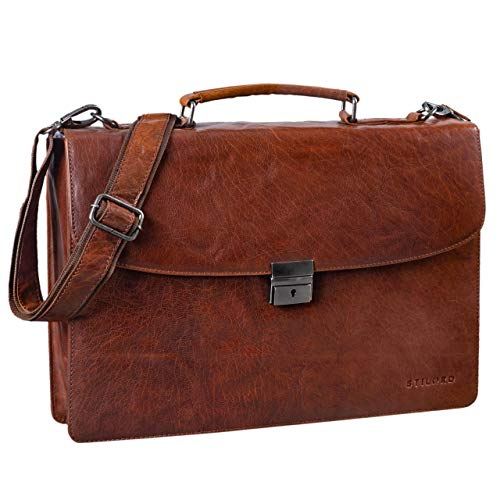 STILORD 'Jonathan' Elegante Aktentasche Klassische Büro Business Schultertasche groß 15,6 Zoll mit Schloss Rinds Leder, Farbe:Brandy - braun - Brandy Handtaschen Aus Leder