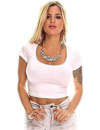 FASHION LINE Womens White Short Sleeve Crop Top Shirt