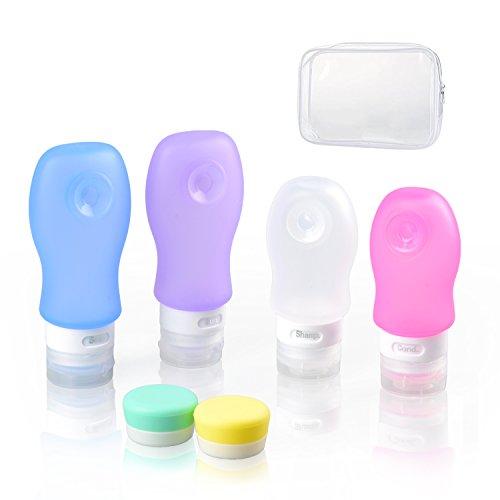 Botellas de viaje de silicona, envases de viaje portátil líquido 6pcs TSA aprobado botellas cosméticas exprimidos contenedores recargables para jabón champú loción crema artículos de tocador