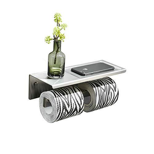 Toilettenpapierhalter mit Ablage Wand Montage, gebürsteter Edelstahl, für Doppelrollenpapier WC-Rollenhalter