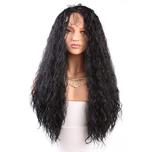 LLonGao Brasilianische Weniger Spitzefrontvollperücke-Lange Wellen-Schwarze Natürlich Aussehende Frauenperücken