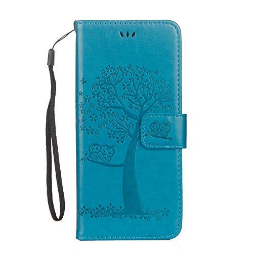 JAWSEU Kompatibel mit Samsung Galaxy S7 Edge Hülle Leder Flip Case Wallet Tasche Cover Hüllen Eule Baum Muster PU Handyhülle Brieftasche Etui Schutzhülle Handytasche Magnetisch Ständer,Blau
