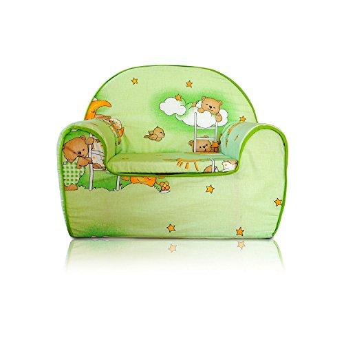 Kindersessel Kinder Sessel Kindersofa Kinder Sofa (03 Bärchen-Grün)