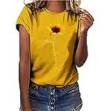 Zilosconcy T-Shirt Basique Manche Courte Tournesol Motif Imprimé Couleur Unie DéContracté Mignon Col Rond Casual Été Lache Chic Vintage Bureau