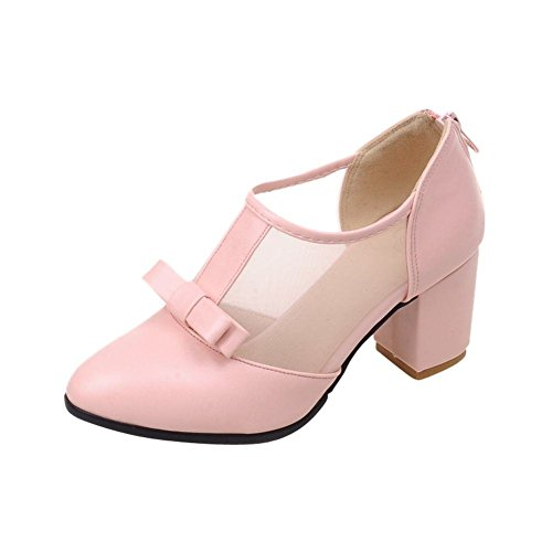Mee Shoes Damen modern bequem süß Geschlossen Mesh römisch-stil Reißverschluss mit Schleife dicker Absatz Pumps Pink