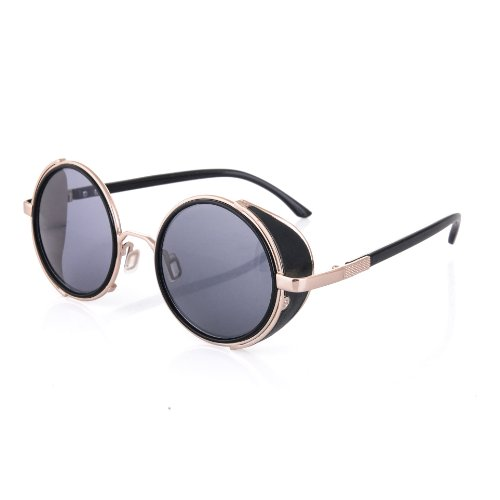4sold® Steampunk Sunglasses 50s Round Glasses Copper Cyber Goggles Rave Goth Vintage Victorian like Sunglasses Includes
