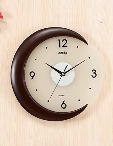 IG Glocke-Wanduhr Metall Präzise 12 Zoll Pastoralen Holz Runde Kreative Wohnzimmer Moderne Idyllische Uhr Art Deco Kreative -1 X Aa Batterie (Nicht Im Lieferumfang enthalten),A