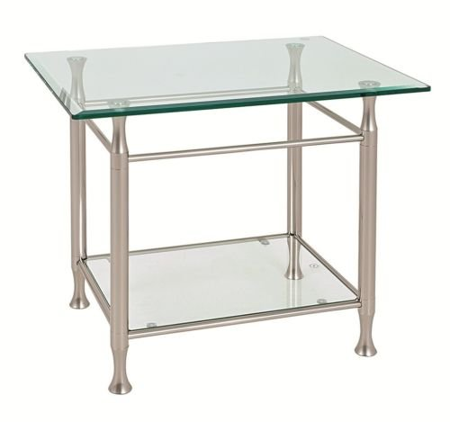 Satin Steel & Bevelled Edge Glass 'Milano' Table Range (Coffee Table 39820)