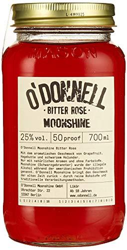 O'Donnell Moonshine im originellen Mason Jar - Kombisets (Bitter Rose) I Made in Germany I Natürliche Zutaten I Premium Schnaps nach Amerikanischer Tradition I 25% Vol. Alkohol