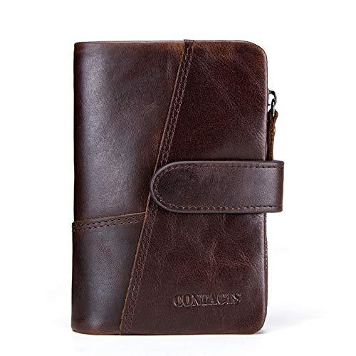 YXCM Frauen Geldbörsen, Leder Frauen dreifach Reißverschluss Schnalle Brieftasche lässig Nähte Kupplung,Brown (Womens Brieftaschen Und Kupplungen)