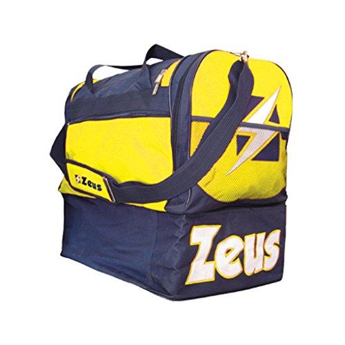 Zeus borsa gamma borsone uomo calcio palestra piscina tracolla sport 52 x 52 x 36 cm blu-giallo
