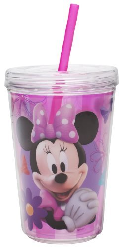 Zak Designs Minnie Mouse Double Wall Tumbler with Straw, 13-Ounce by Zak Designs