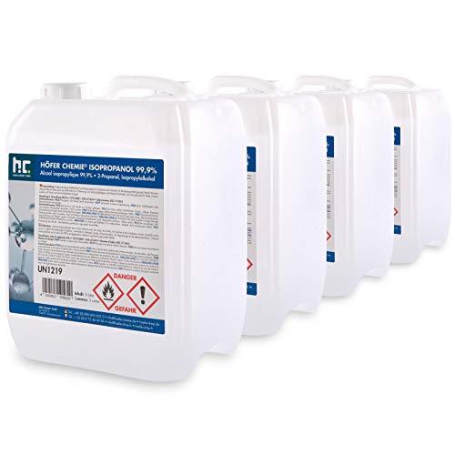 4 x 5 L alcool isopropylique 99,9% - FRAIS DE PORT OFFERT - bidons de 5 L