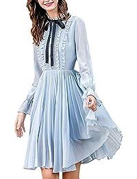 5a12aea11ae6 Vestiti Donna al Ginocchio Primaverile con Vestiti in Chiffon Eleganti  Autunno Manica Lunga Anni 20 Linea Ad A Cravatta A Farfalla Moda…
