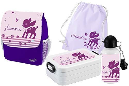Mein Zwergenland Set 5 Kindergartenrucksack mit Brotdose Maxi, Turnbeutel Baumwolle und Flasche Happy Knirps Next Print mit Name Rehlein, 6L, Lila