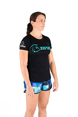 Titan Box Wear No Limits Camiseta, Mujer, Negro/Turquesa / Blanco, XS