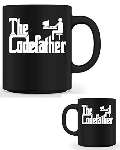 The Codefather Informatiker Tasse in schwarz aus Keramik - beidseitig bedruckt - 375 ml - Motivation für den Tag - perfekt für Kaffee, Tee und mehr - Computer Programmierer Gamer Kaffeetasse