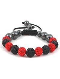 11-Ball Red & Black Bead Shamballa Bracelet with no strings