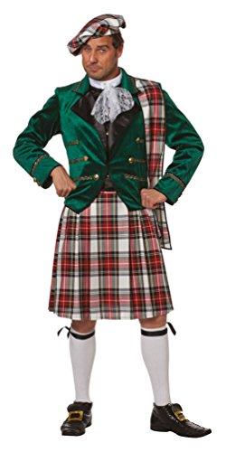 Karneval-Klamotten Schotte-Kostüm Herren Schotte-Rock Herren Oberteil Schotten-Mütze Schärpe grün Kilt Herren-Kostüm Größe - Herren Kilt Kostüm