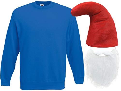 Alsino Blaues Zwergenkostüm Zwerg Verkleidung (Kv-138) Blauer Pullover rote Zwergenmütze und Bart, ()