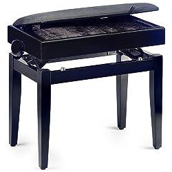 Stagg Klavierbank mit Notenfach, Schwarz matt