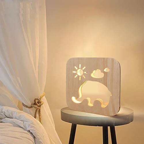 MHXXYD Tiere Handwerk Atmosphäre Lampe Aus Holz Geschnitzt Hohlen Nachtlicht Usb Led Room Desktop Dekoration -