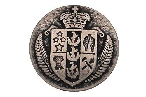 Silber matt Wappen Metall Knöpfe Ösenknöpfe Wappenknöpfe mit Krone (5 Stück) (23mm) - Wappen-knöpfe