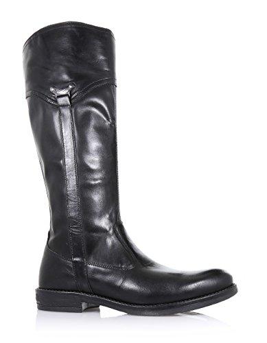 NERO GIARDINI - Botte noire en cuir, avec fermeture éclair latérale, étiquette latérale avec logo, coutures visibles et semelle en caoutchouc, fille, filles, femme, femmes