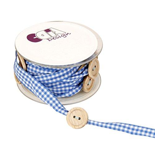 Spitzenborte mit Knopf Borte Bordüre Zierband Besatz Nähzubehör DIY Handwerk - Blau