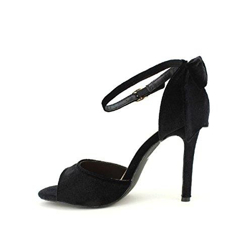 Cendriyon Sandale Noire Velours C'M Chaussures Femme Noir