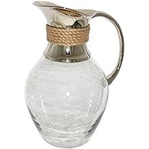 Better & Best 1511403 - Jarra de Cristal con Cuello Plateado Decorado con Cuerda