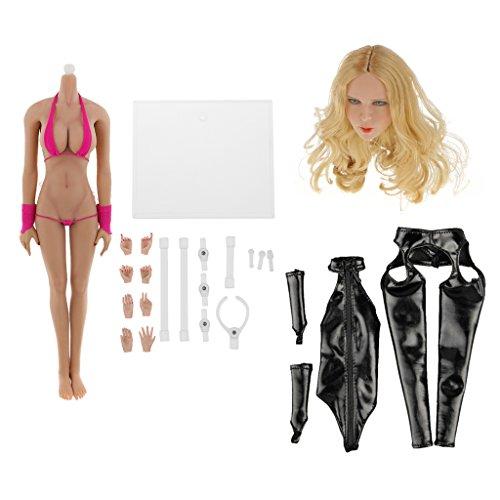Gazechimp 1/6 Nahtlose Große Büste Weibliche Körper Figur in Sexy Bikini + Kopf Sculpt + Schwarze Leder (Weibliche Anzug Körper)