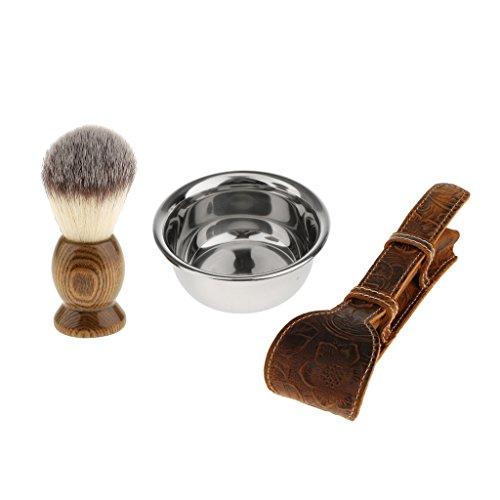 MagiDeal 3 en 1 Blaireau à Barbe en Poils Nylon + Bol de Savon à Barbe en Acier + Etui à Rasoir de Sécurité en Cuir PU - Kit de Rasage Manuel pour Homme Barbier Coiffeur