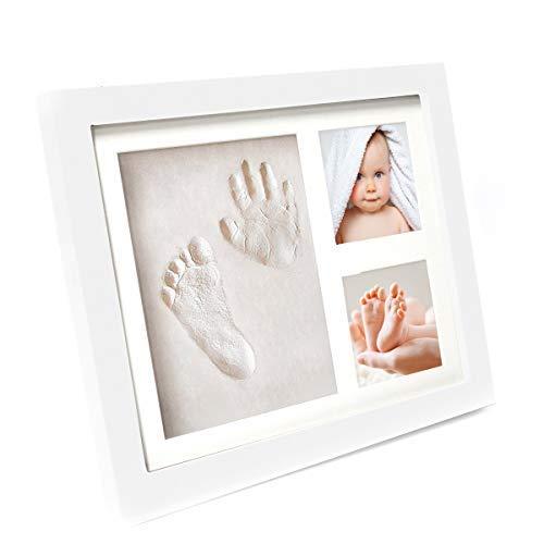 Bilderrahmen Baby für Fußabdruck und Handabdruck  Geschenk-Set zur Geburt Taufe Geburtstag Babyparty  weißer Rahmen  2 Fotos Footprint weiß  Fotorahmen  Abdruck  Kinder Babybilderrahmen