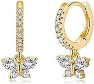S925 Sterling Silver Post Huggie Hoop Earrings, 14K Gold Plated Dangle Small Hoop Cuff Earring Hypoallergenic