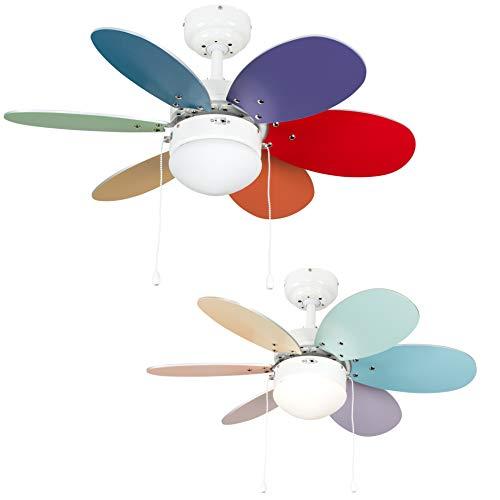 MiniSun - Divertido ventilador de techo, faro con luz \'Candy\' - para frío y calor, con 6 aspas reversibles multicolores [Clase de eficiencia energética A]